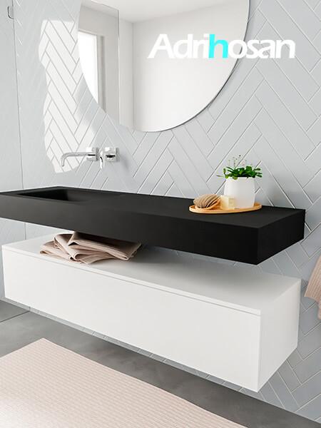 Badkamermeubel met solid surface wastafel model ALAN zwart kast white side 00017 1