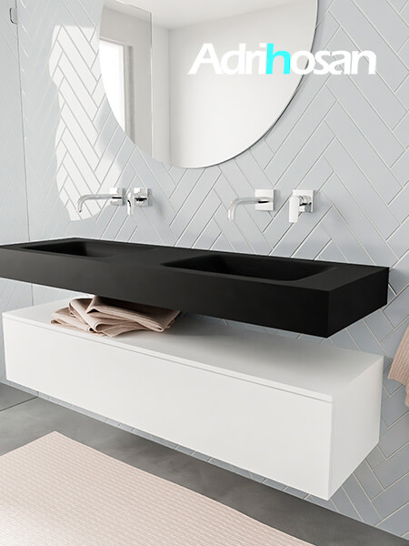 Mueble suspendido ALAN 150 cm de 1 cajón blanco mate. Encimera con lavabo CLOUD doble sin orificio urban