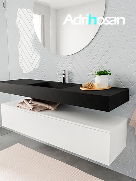 Mueble suspendido ALAN 150 cm de 1 cajón blanco mate. Encimera con lavabo CLOUD centro 1 orificio urban