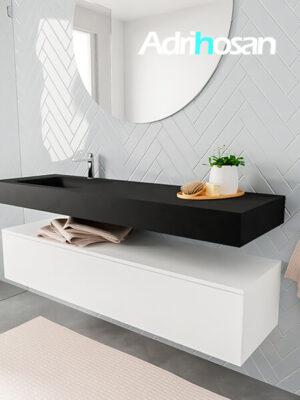 Badkamermeubel met solid surface wastafel model ALAN zwart kast white side 00021 1