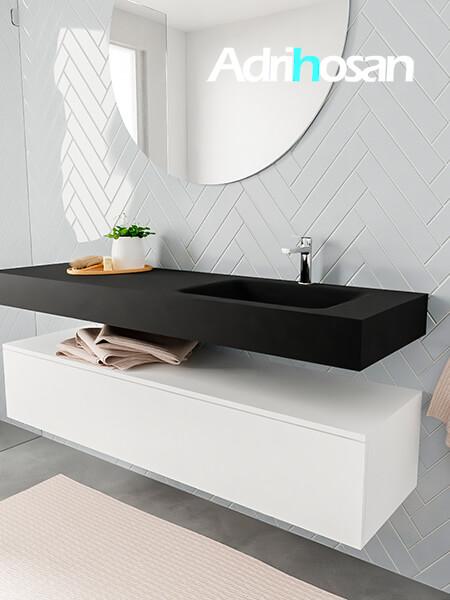 Mueble suspendido ALAN 150 cm de 1 cajón blanco mate. Encimera con lavabo CLOUD derecha 1 orificio urban