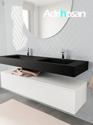 Badkamermeubel met solid surface wastafel model ALAN zwart kast white side 00023 1