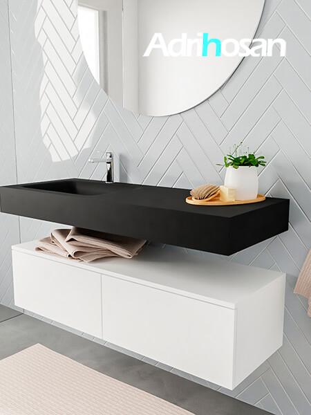Badkamermeubel met solid surface wastafel model ALAN zwart kast white side 00029 1