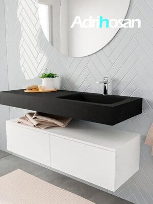 Badkamermeubel met solid surface wastafel model ALAN zwart kast white side 00030 1