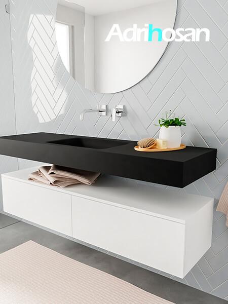 Mueble suspendido ALAN 150 cm de 2 cajones blanco mate. Encimera con lavabo CLOUD centro sin orificio urban