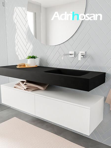 Mueble suspendido ALAN 150 cm de 2 cajones blanco mate. Encimera con lavabo CLOUD derecha sin orificio urban