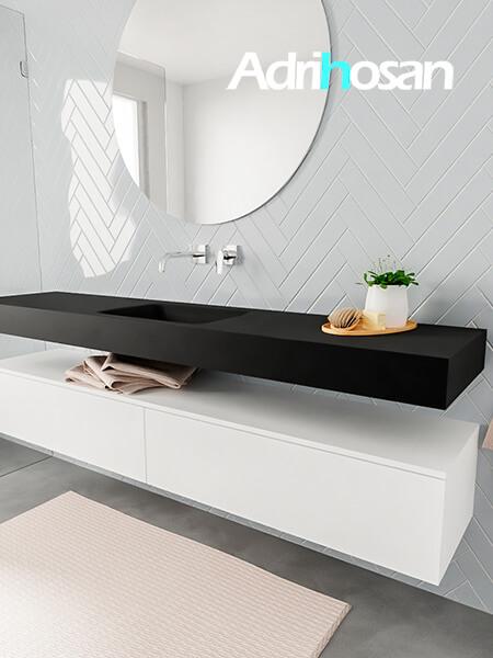 Mueble suspendido ALAN 200 cm de 2 cajones blanco mate. Encimera con lavabo CLOUD centro sin orificio urban