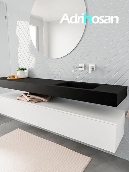 Mueble suspendido ALAN 200 cm de 2 cajones blanco mate. Encimera con lavabo CLOUD derecha sin orificio urban