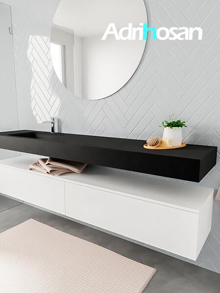Mueble suspendido ALAN 200 cm de 2 cajones blanco mate. Encimera con lavabo CLOUD izquierda 1 orificio urban