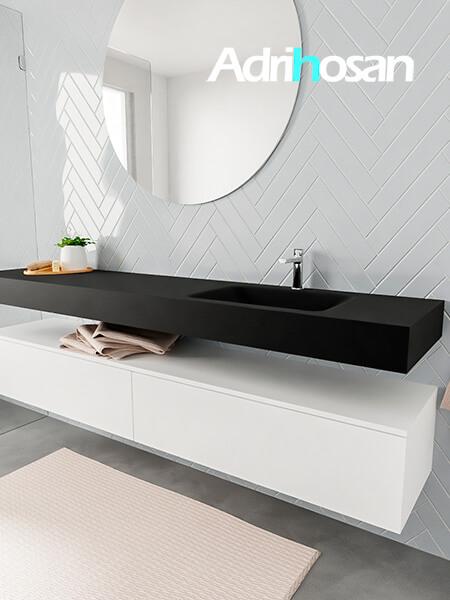 Mueble suspendido ALAN 200 cm de 2 cajones blanco mate. Encimera con lavabo CLOUD derecha 1 orificio urban