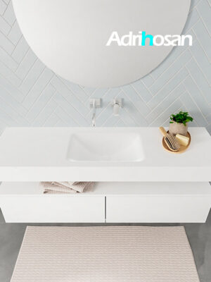 Badmeubel met solid surface wastafel model ALAN wit kast white top 00032 1