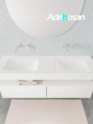 Badmeubel met solid surface wastafel model ALAN wit kast white top 00035 1
