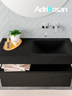 Badmeubel met solid surface wastafel model ALAN zwart kast matzwart top 00004 1