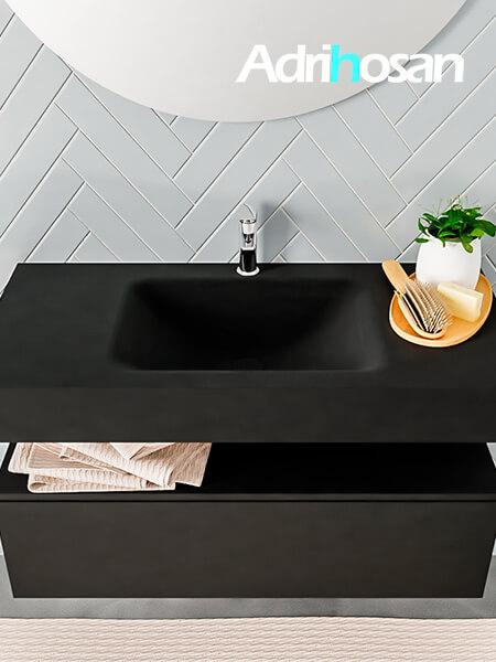 Badmeubel met solid surface wastafel model ALAN zwart kast matzwart top 00005 1