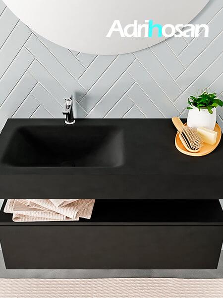 Badmeubel met solid surface wastafel model ALAN zwart kast matzwart top 00006 1