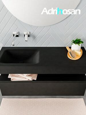 Badmeubel met solid surface wastafel model ALAN zwart kast matzwart top 00009 1