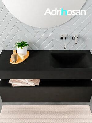 Badmeubel met solid surface wastafel model ALAN zwart kast matzwart top 00010 1