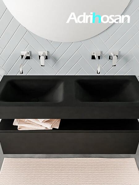 Badmeubel met solid surface wastafel model ALAN zwart kast matzwart top 00011 1