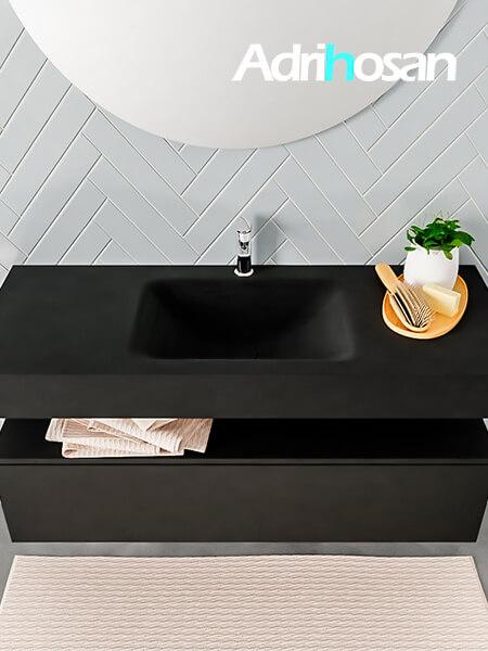 Badmeubel met solid surface wastafel model ALAN zwart kast matzwart top 00012 1
