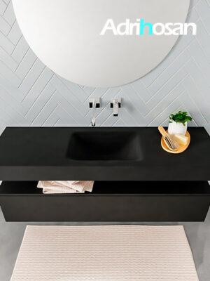 Badmeubel met solid surface wastafel model ALAN zwart kast matzwart top 00016 1