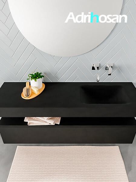 Badmeubel met solid surface wastafel model ALAN zwart kast matzwart top 00018 1