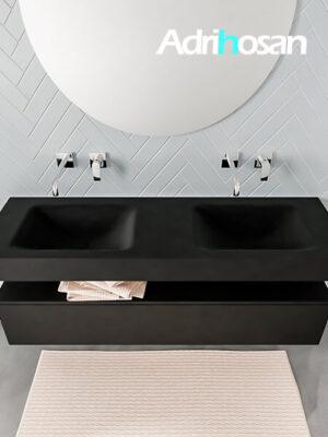 Badmeubel met solid surface wastafel model ALAN zwart kast matzwart top 00019 1