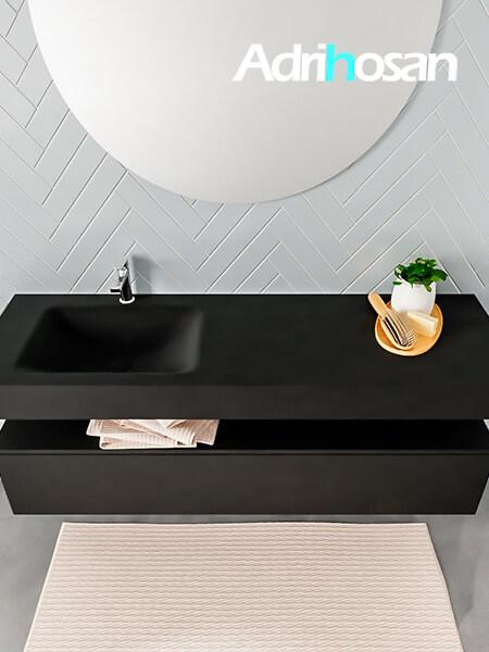 Badmeubel met solid surface wastafel model ALAN zwart kast matzwart top 00021 1
