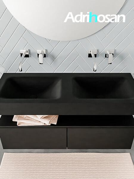 Badmeubel met solid surface wastafel model ALAN zwart kast matzwart top 00027 1