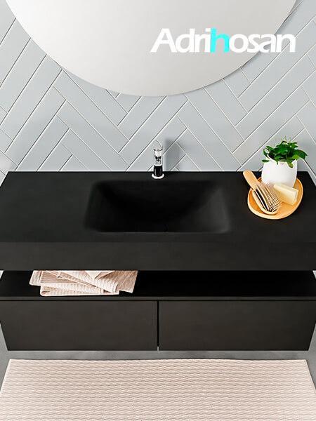 Badmeubel met solid surface wastafel model ALAN zwart kast matzwart top 00028 1