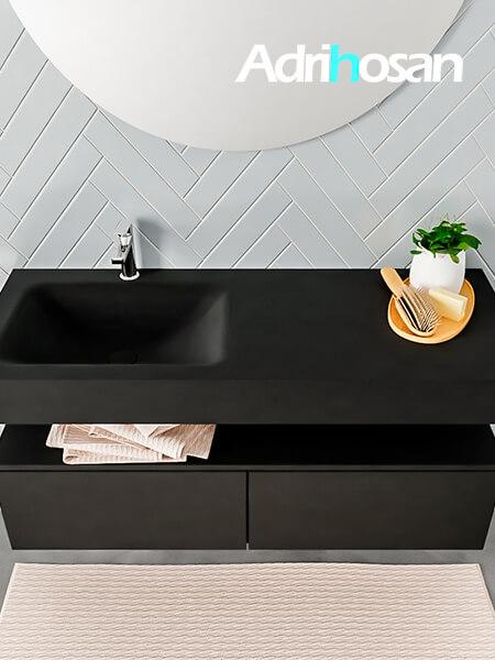 Badmeubel met solid surface wastafel model ALAN zwart kast matzwart top 00029 1