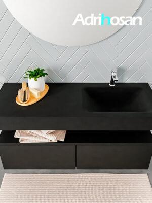Badmeubel met solid surface wastafel model ALAN zwart kast matzwart top 00030 1