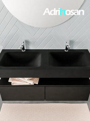 Badmeubel met solid surface wastafel model ALAN zwart kast matzwart top 00031 1