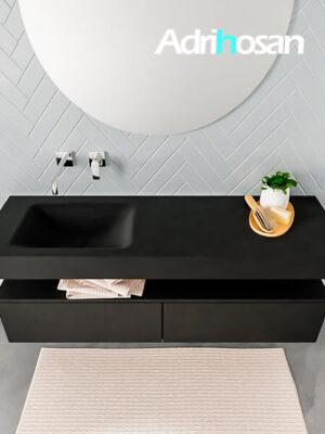 Badmeubel met solid surface wastafel model ALAN zwart kast matzwart top 00033 1