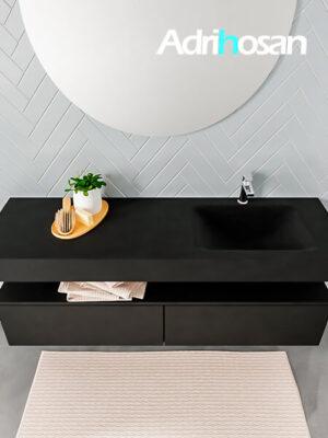 Badmeubel met solid surface wastafel model ALAN zwart kast matzwart top 00038 1