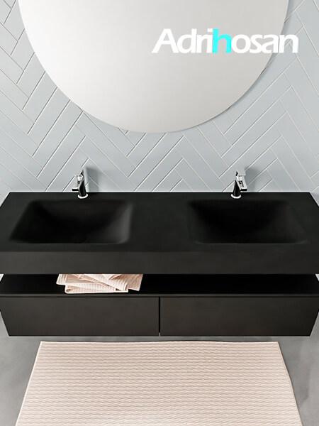 Badmeubel met solid surface wastafel model ALAN zwart kast matzwart top 00039 1