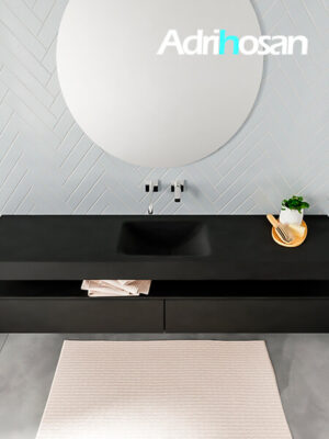 Badmeubel met solid surface wastafel model ALAN zwart kast matzwart top 00040 1