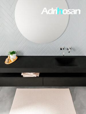Badmeubel met solid surface wastafel model ALAN zwart kast matzwart top 00042 1