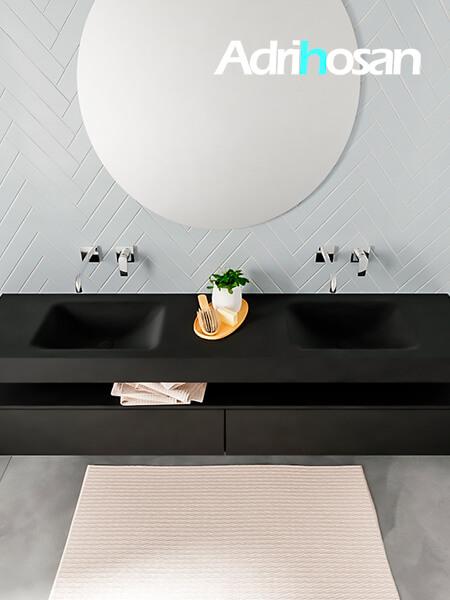 Badmeubel met solid surface wastafel model ALAN zwart kast matzwart top 00043 1