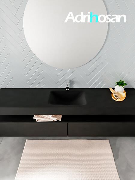 Badmeubel met solid surface wastafel model ALAN zwart kast matzwart top 00044 1