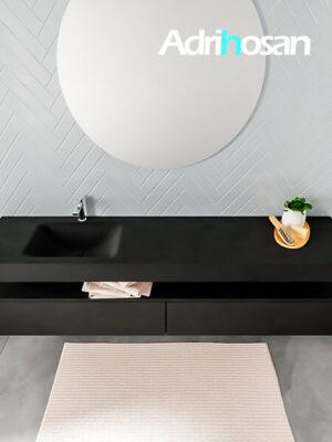 Badmeubel met solid surface wastafel model ALAN zwart kast matzwart top 00045 1