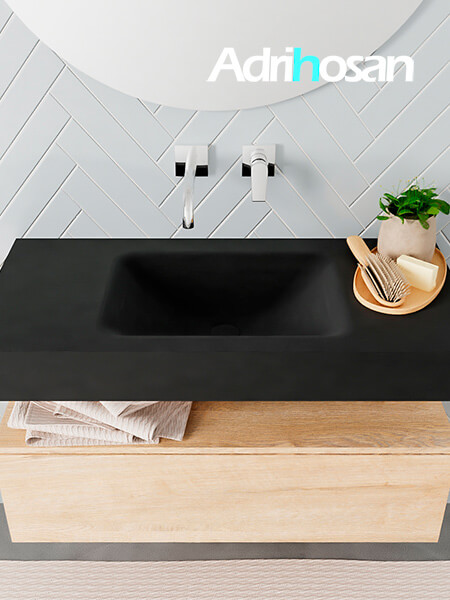 Badmeubel met solid surface wastafel model ALAN zwart kast washedoak top 00002 1