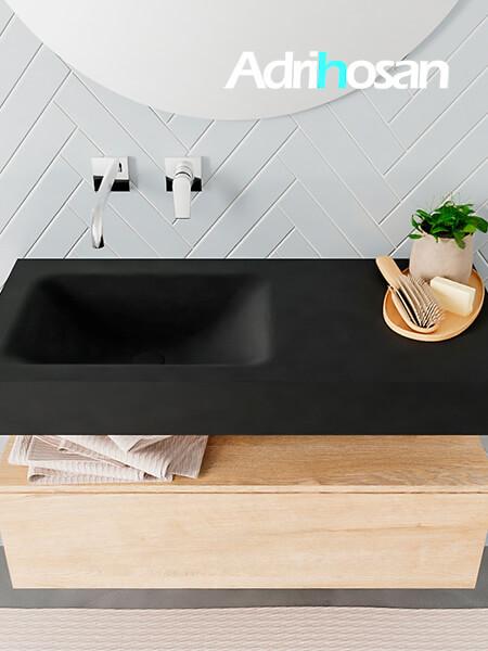 Badmeubel met solid surface wastafel model ALAN zwart kast washedoak top 00003 1