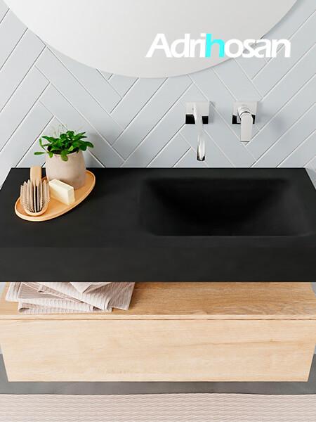 Badmeubel met solid surface wastafel model ALAN zwart kast washedoak top 00004 1