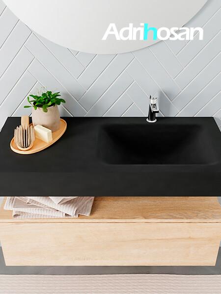 Badmeubel met solid surface wastafel model ALAN zwart kast washedoak top 00007 1
