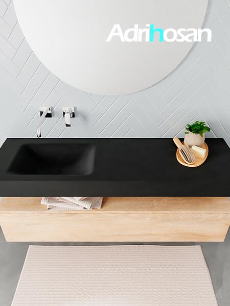 Badmeubel met solid surface wastafel model ALAN zwart kast washedoak top 00017 1