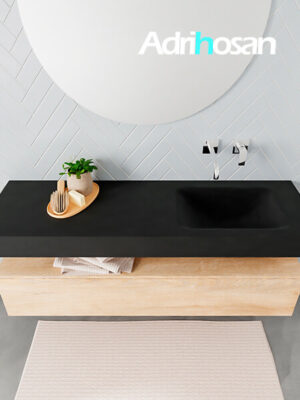 Badmeubel met solid surface wastafel model ALAN zwart kast washedoak top 00018 1