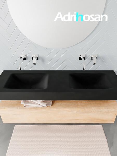 Badmeubel met solid surface wastafel model ALAN zwart kast washedoak top 00019 1