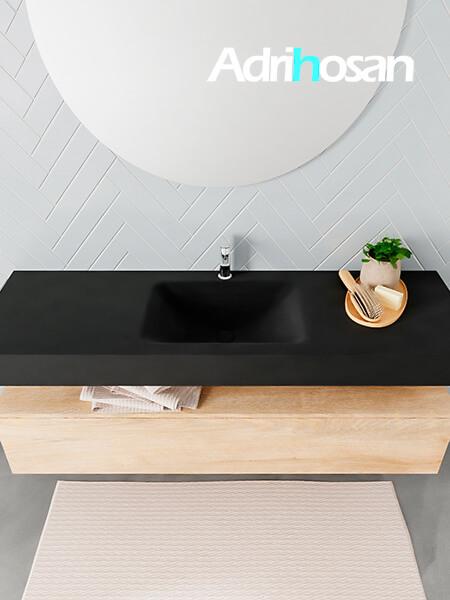 Badmeubel met solid surface wastafel model ALAN zwart kast washedoak top 00020 1