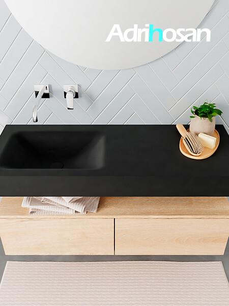 Badmeubel met solid surface wastafel model ALAN zwart kast washedoak top 00025 1