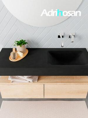 Badmeubel met solid surface wastafel model ALAN zwart kast washedoak top 00026 1
